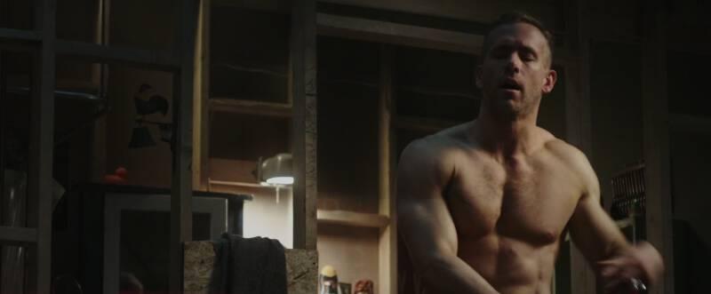 Shirtless Ryan Reynolds as Wade Wilson in Deadpool