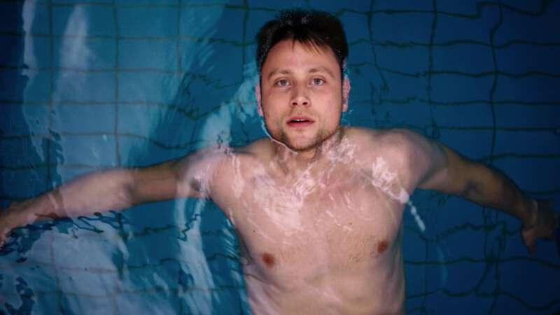 German actor Max Riemelt swimming in Sense8