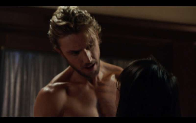 Handsome actor Adam Demos shirtless in a sex scene