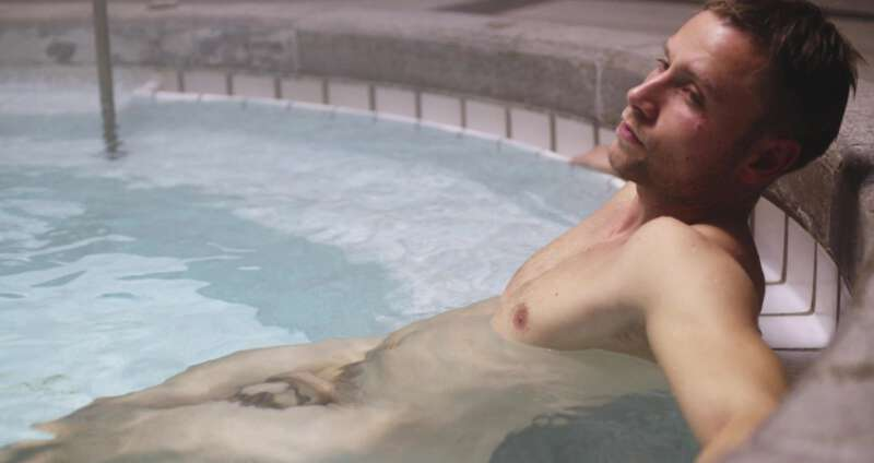 Max Riemelt naked in a pool in Sense8