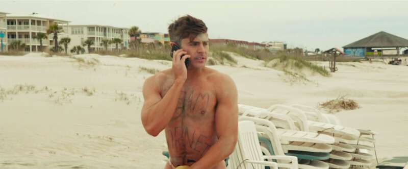 Zac Efron on the beach in Bad Grandpa