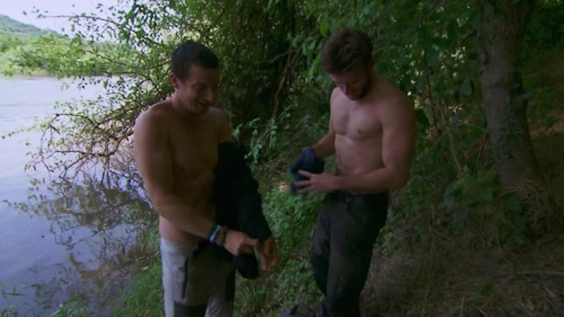 Scott Eastwood shirtless with Bear Grylls