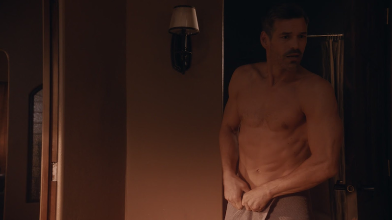 handsome actor Eddie Cibrian in a towel