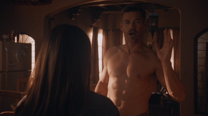 handsome and sexy male actor Eddie Cibrian shirtless in a towel