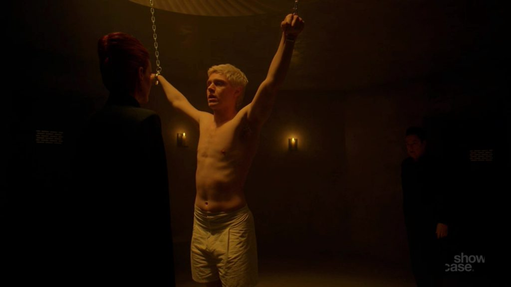 Shirtless Evan Peters in American Horror Story